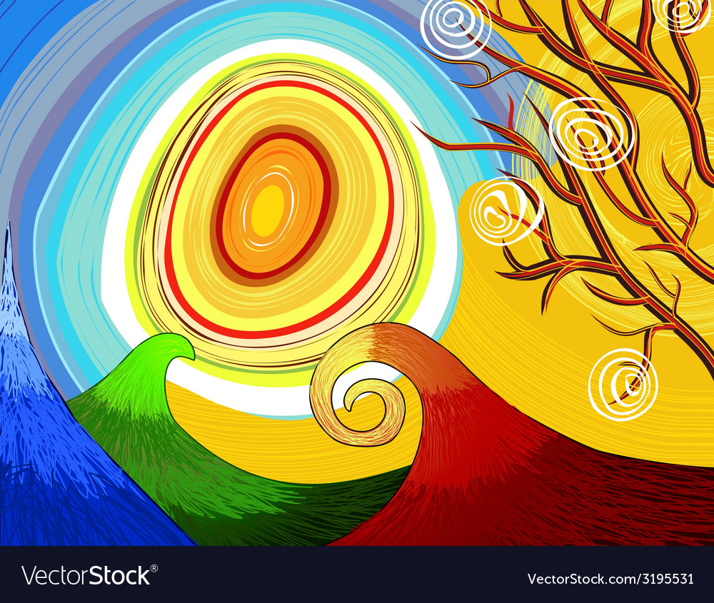 Hand-drawn seasonal background with tree and sun vector | Price: 1 Credit (USD $1)