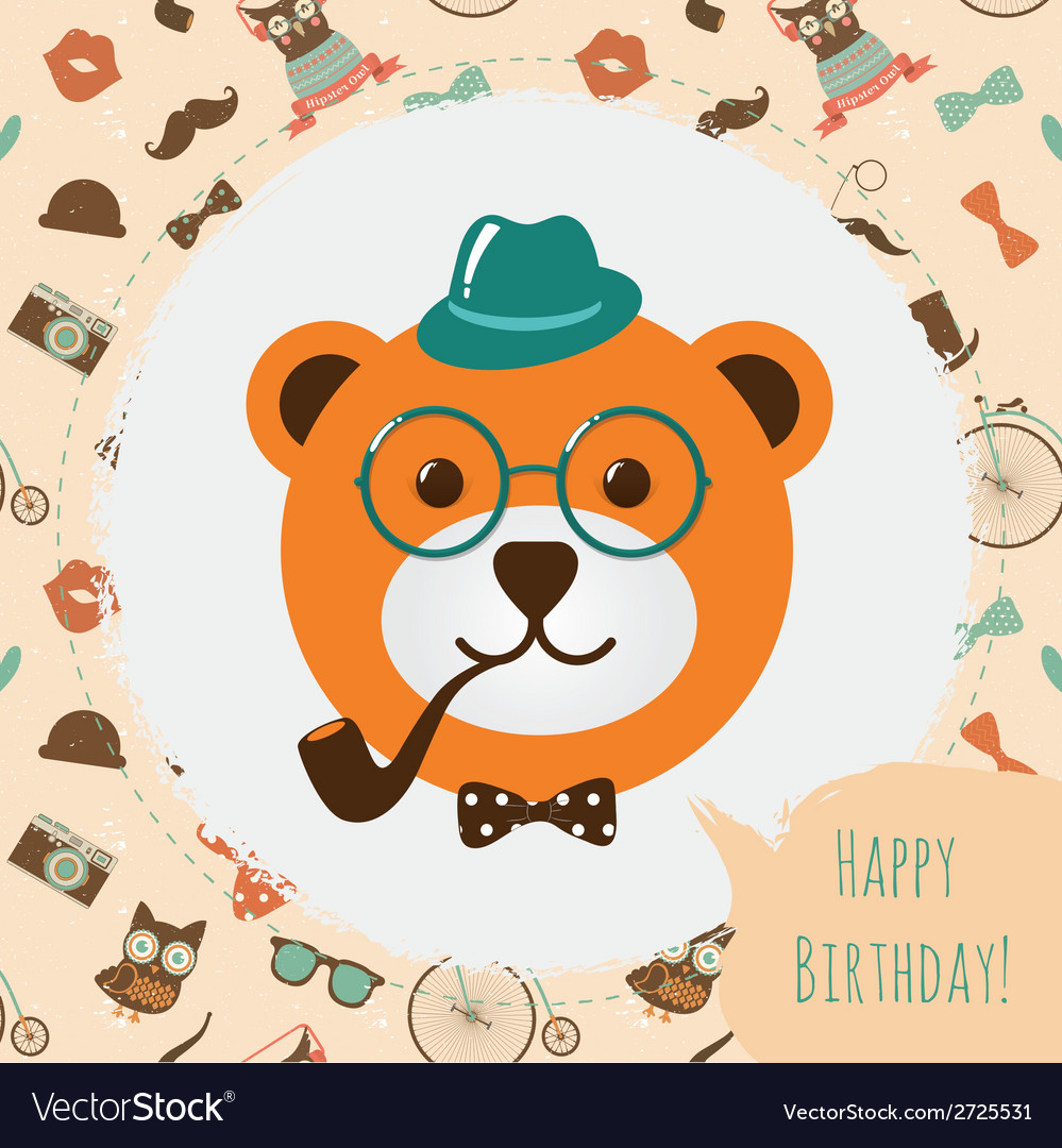 Hipster bear head card vector | Price: 1 Credit (USD $1)