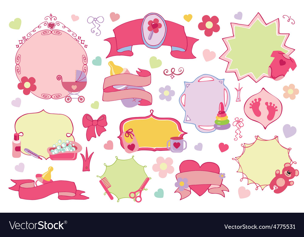 Newborn baby girl badgeslabels set baby shower vector | Price: 1 Credit (USD $1)