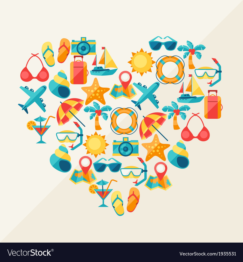 Travel and tourism background of icons in heart vector | Price: 1 Credit (USD $1)