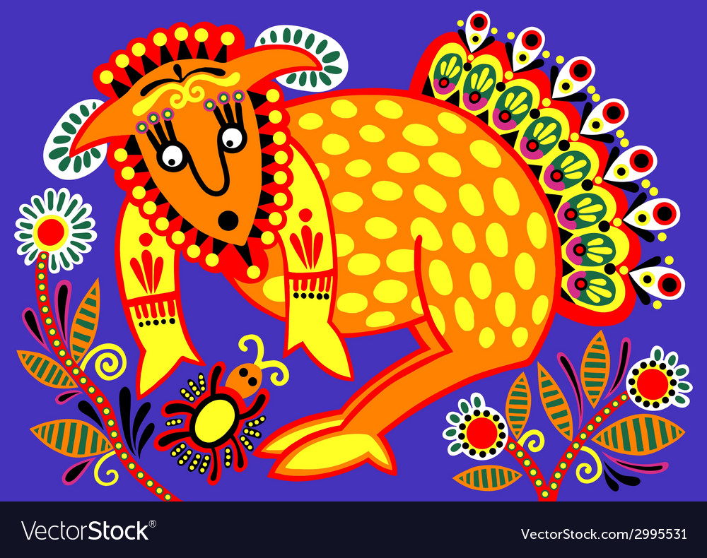 Ukrainian tribal ethnic painting unusual animal vector   Price: 1 Credit (USD $1)