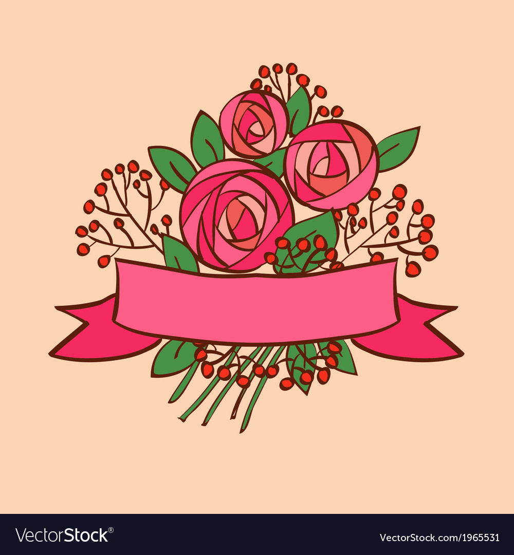 Vintage rose bouquet with ribbon vector | Price: 1 Credit (USD $1)
