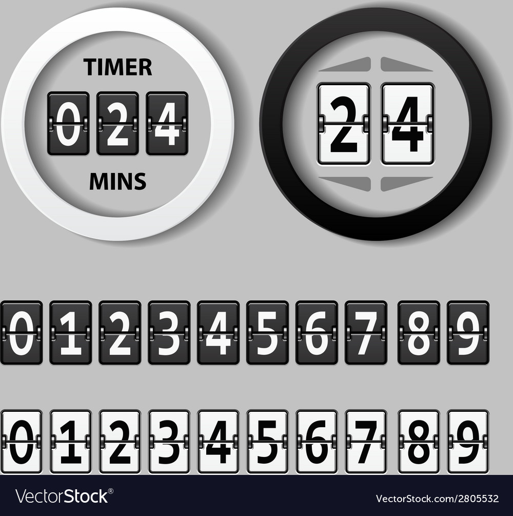 Countdown round mechanical timer vector | Price: 1 Credit (USD $1)