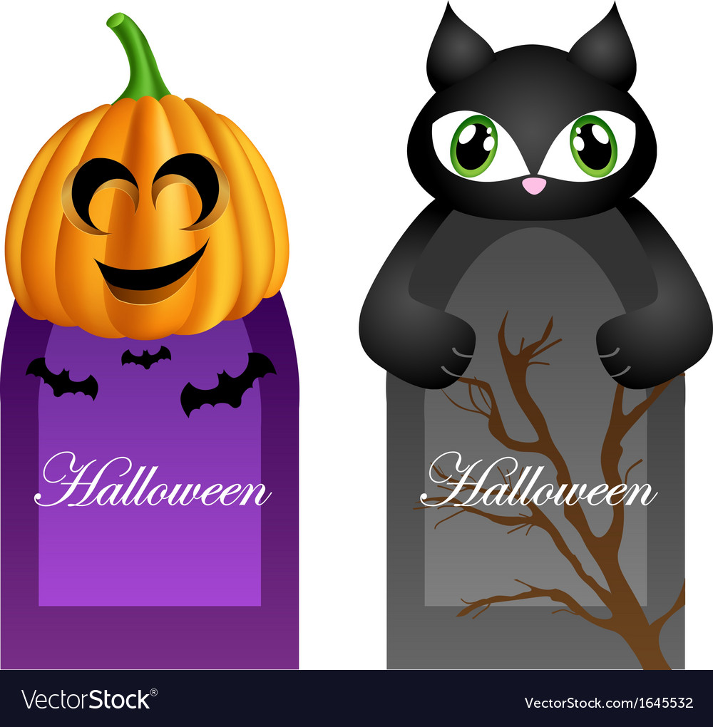 Halloween cards with cartoon pumpkin and cat vector | Price: 1 Credit (USD $1)