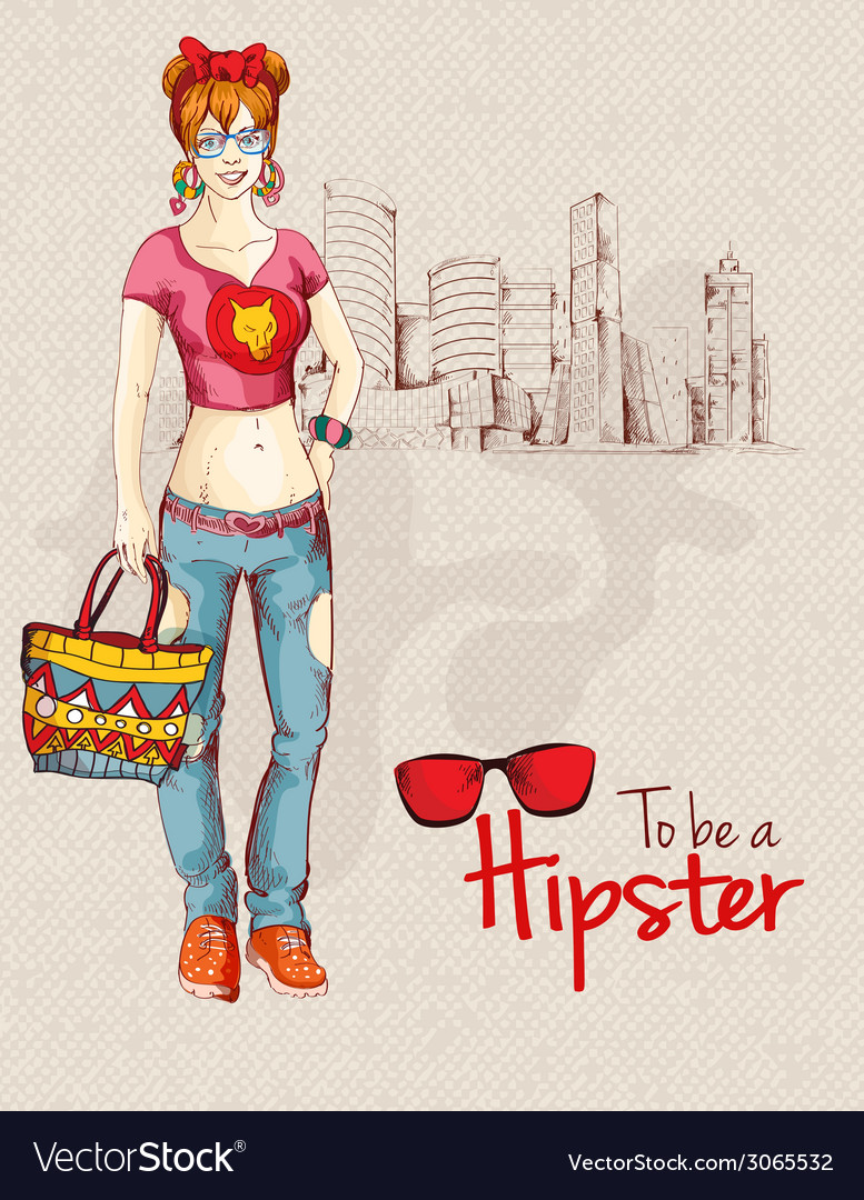 Hipster girl city vector | Price: 1 Credit (USD $1)