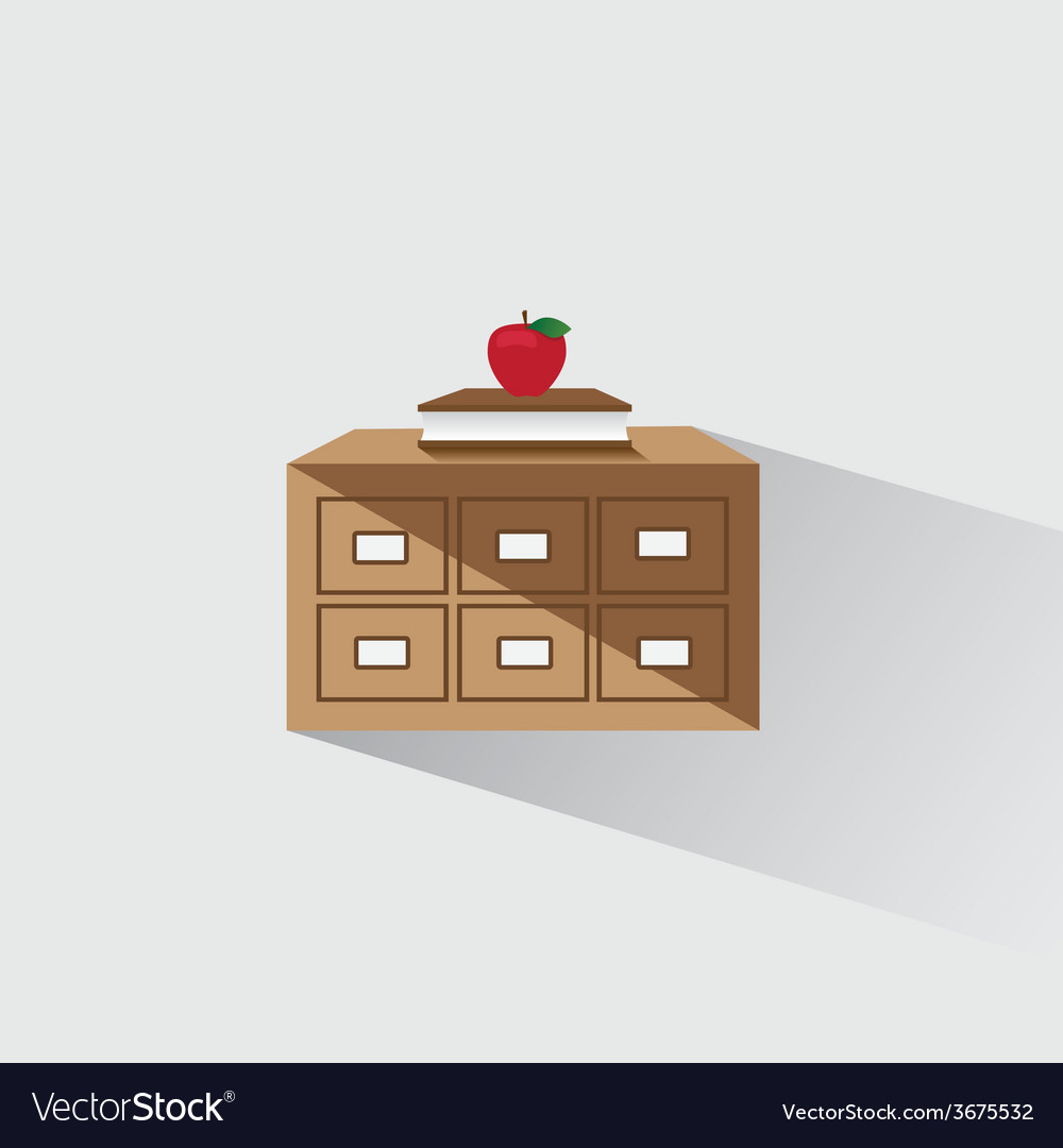 Library catalog of book and apple vector | Price: 1 Credit (USD $1)