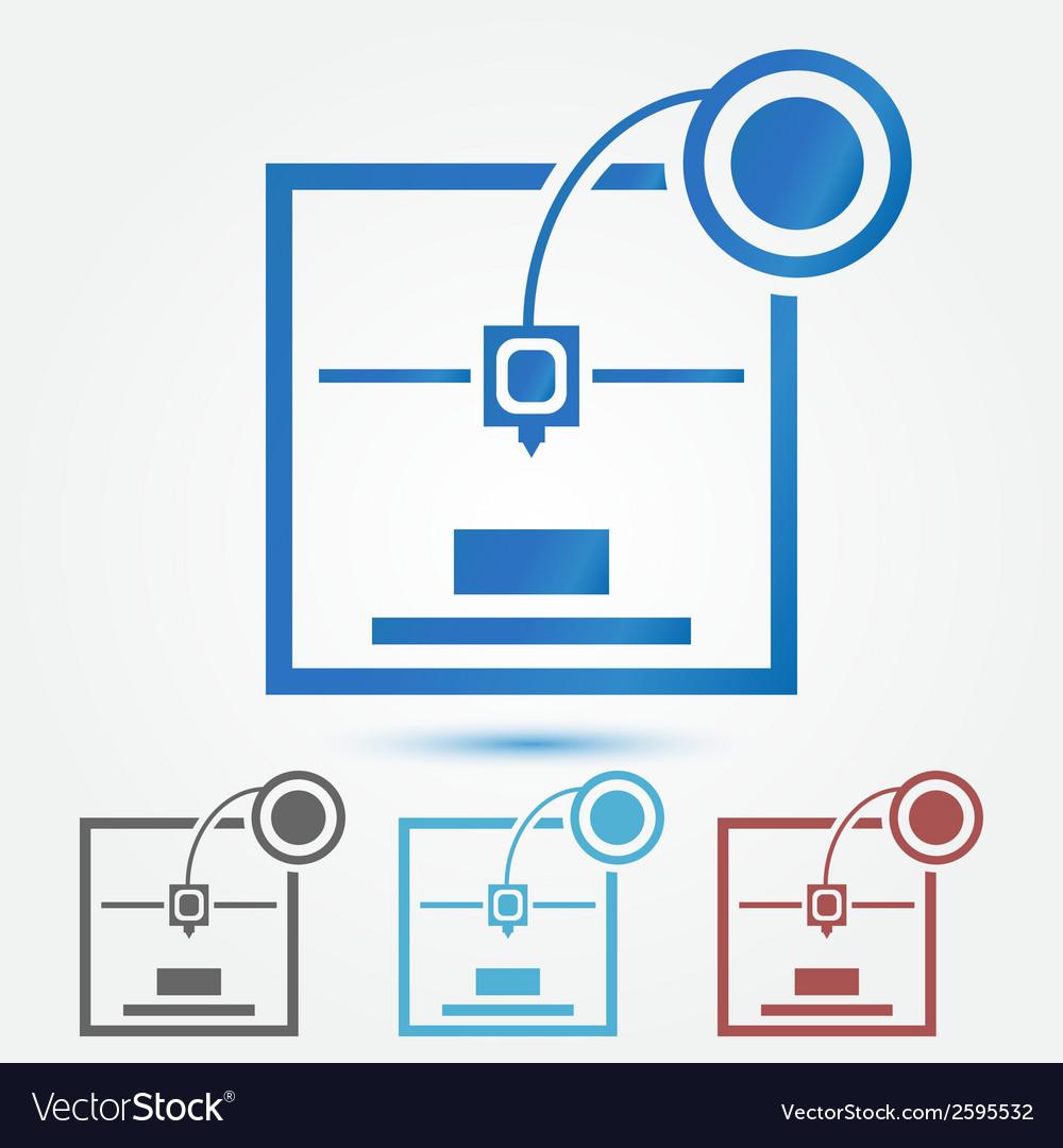 Minimal 3d printer icon vector   Price: 1 Credit (USD $1)