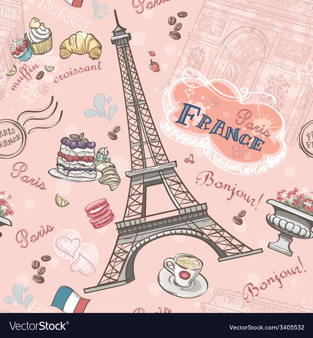 Seamless pattern on paris from the romantic vector | Price: 1 Credit (USD $1)