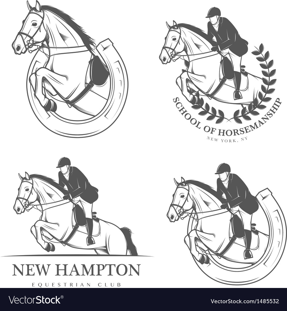 Set of vintage equestrian labels and badges vector | Price: 1 Credit (USD $1)