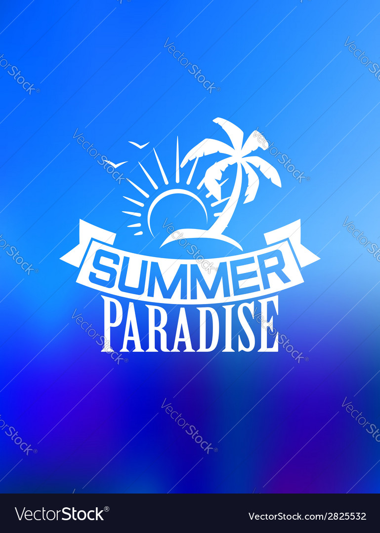 Summer paradise poster vector | Price: 1 Credit (USD $1)