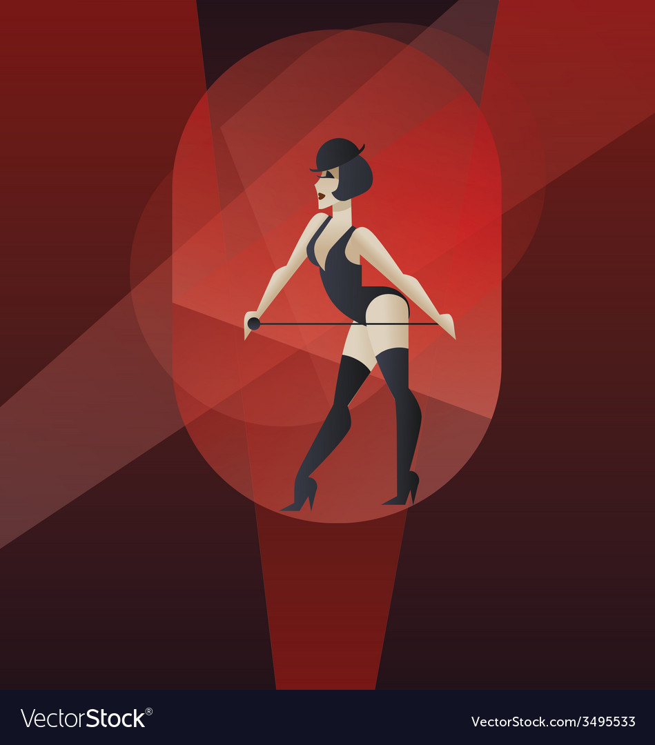 Art deco poster design cabaret burlesque dancer vector | Price: 1 Credit (USD $1)