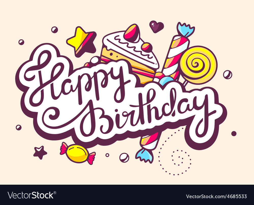 Calligraphy text happy birthday with swee vector | Price: 3 Credit (USD $3)