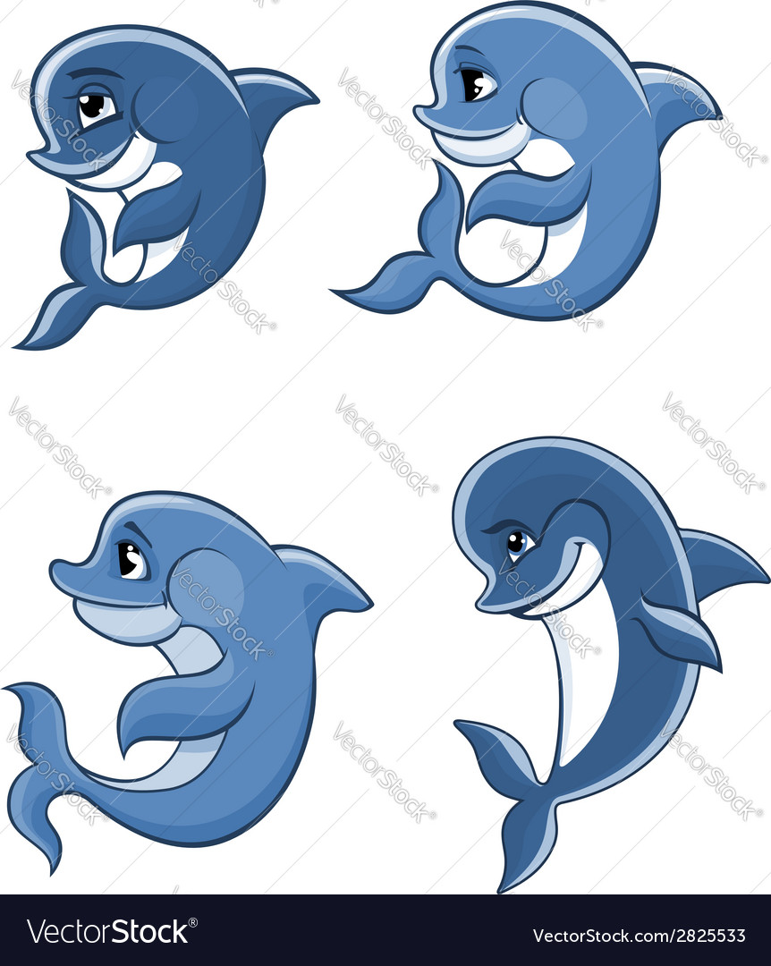 Cartoon dolphin calves set vector | Price: 1 Credit (USD $1)