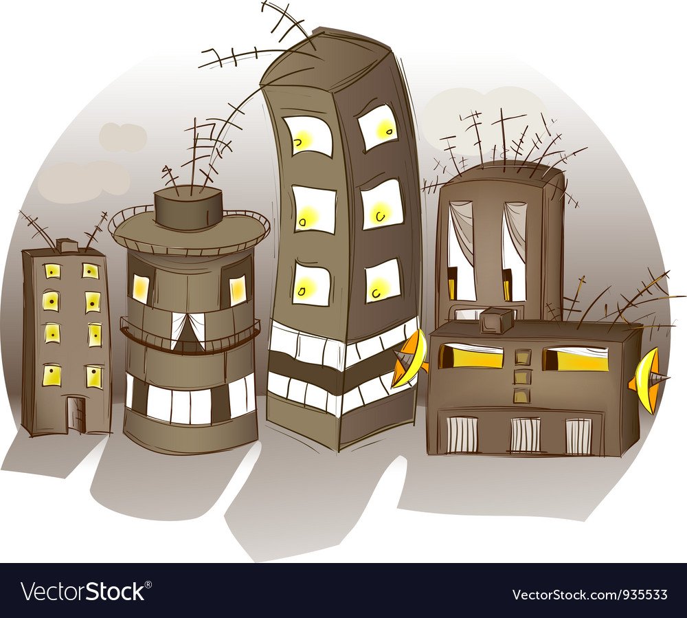 Cartoon spooky houses vector | Price: 3 Credit (USD $3)