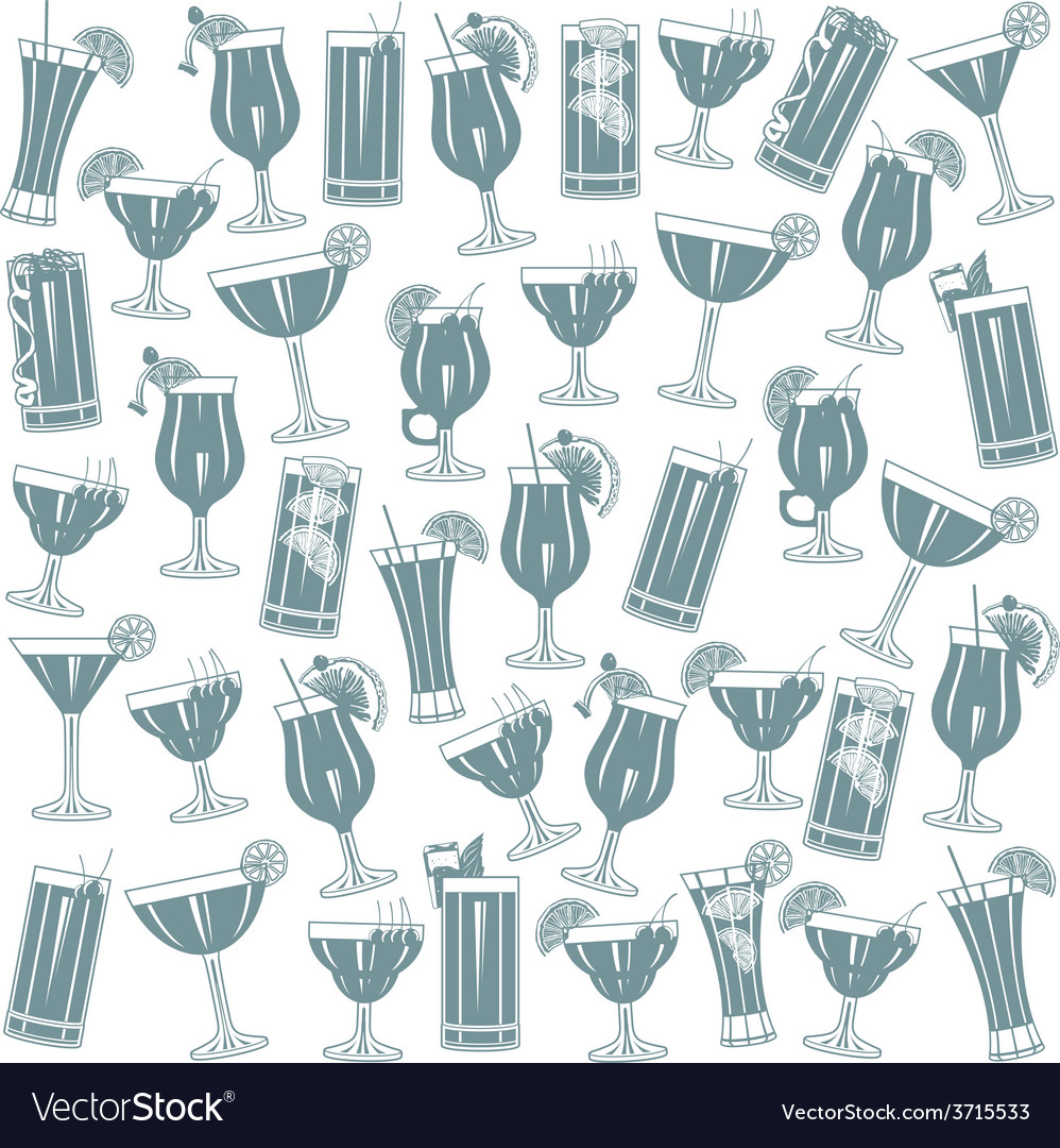 Cocktails seamless pattern vector | Price: 1 Credit (USD $1)