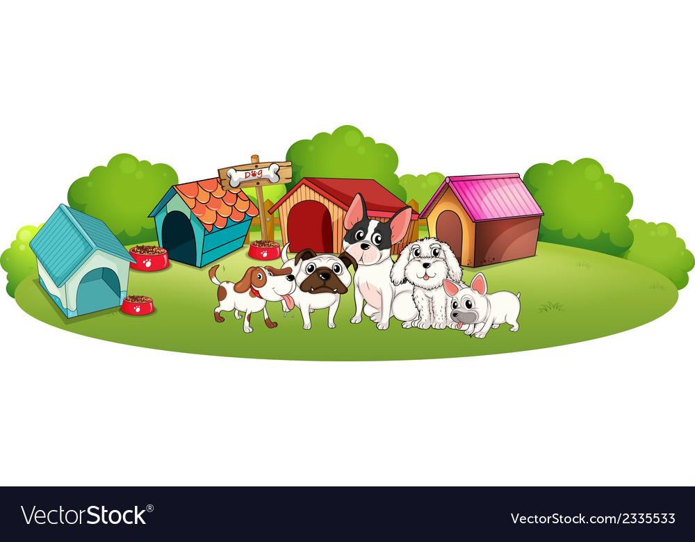 Dogs outside their houses vector | Price: 3 Credit (USD $3)