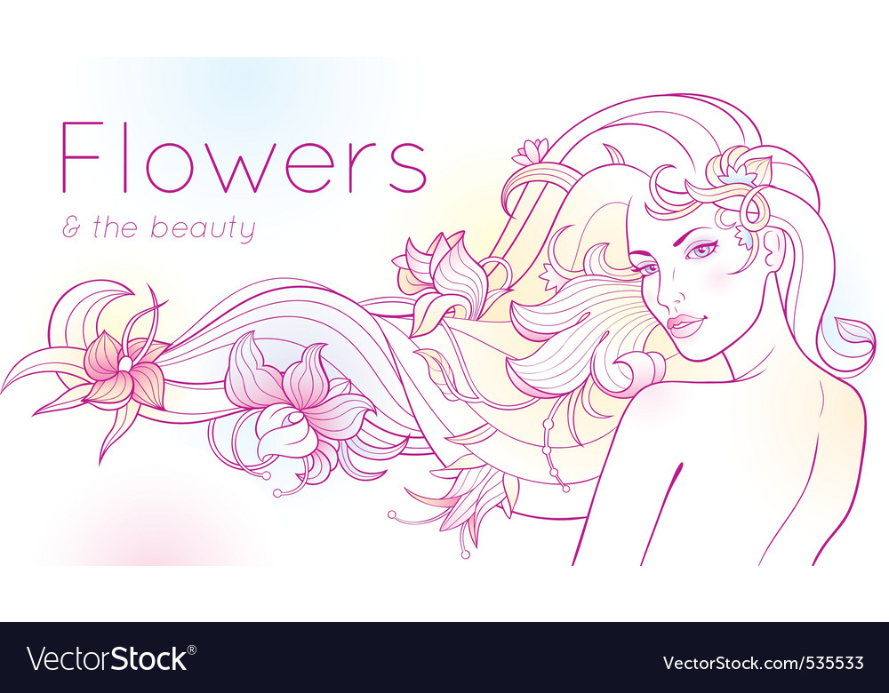 Flowers and the beauty vector | Price: 1 Credit (USD $1)