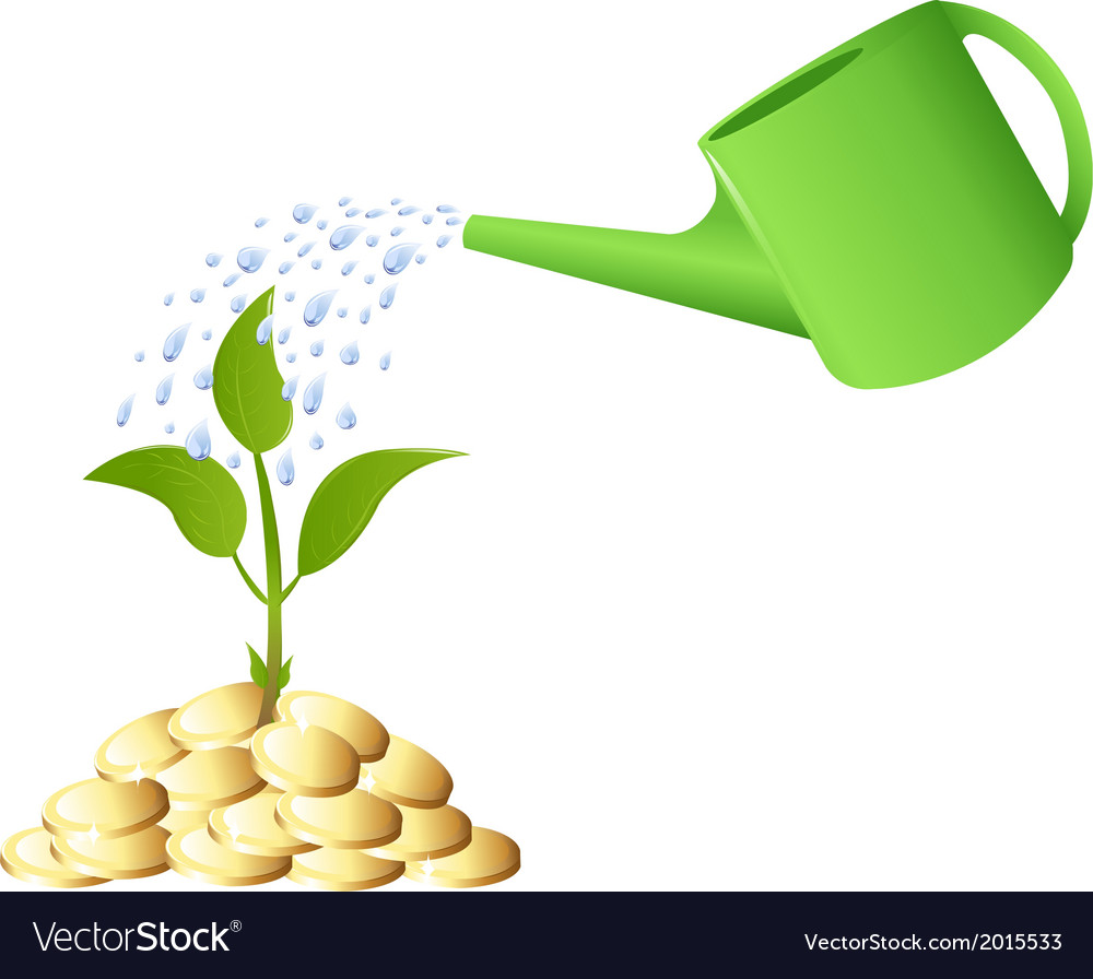 Green young plant with money and watering can vector | Price: 1 Credit (USD $1)