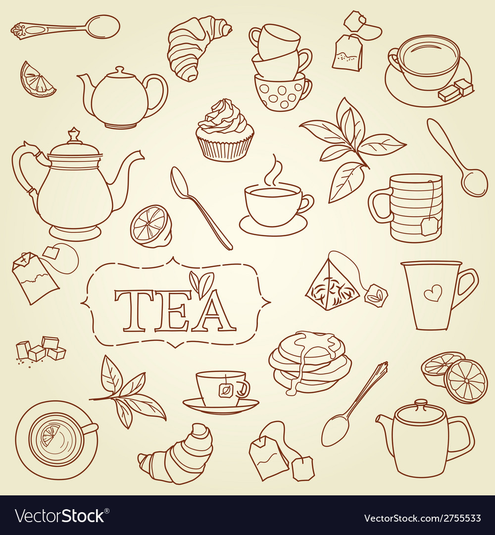 Hand drawn tea doodle concept vector | Price: 1 Credit (USD $1)