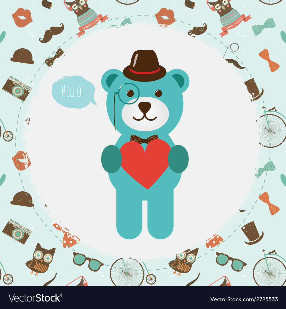 Hipster bear holding heart vector | Price: 1 Credit (USD $1)