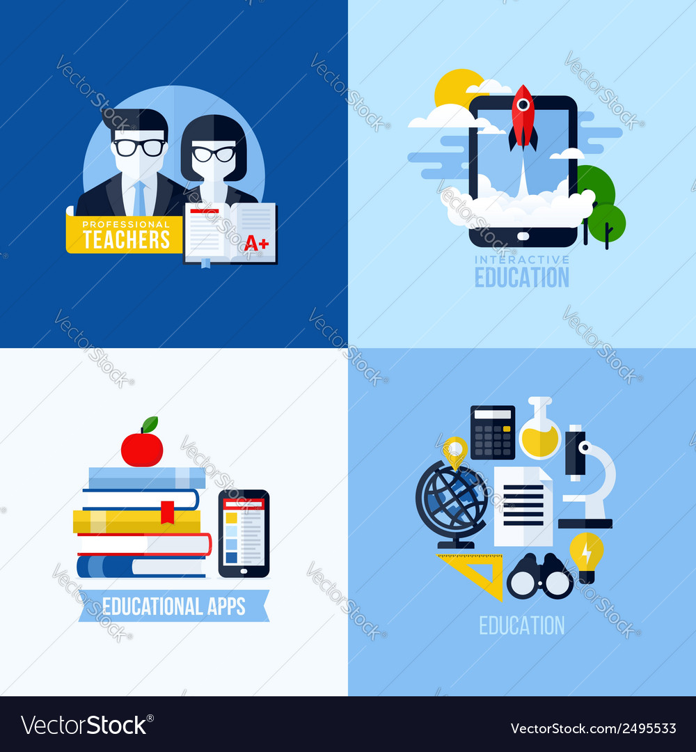Modern flat concepts of educational elements vector | Price: 1 Credit (USD $1)