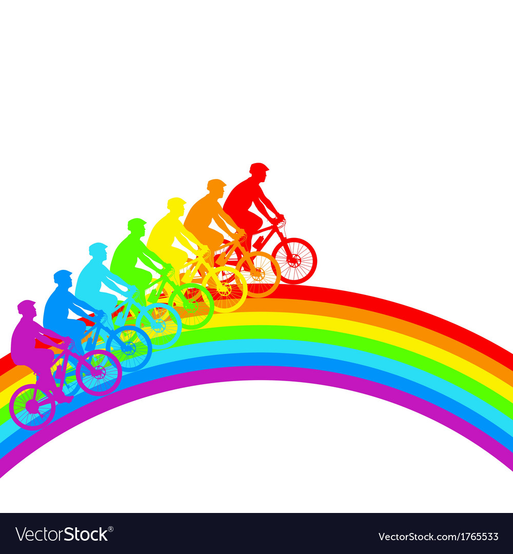 Silhouette of a cyclist a rainbow male33 vector | Price: 1 Credit (USD $1)