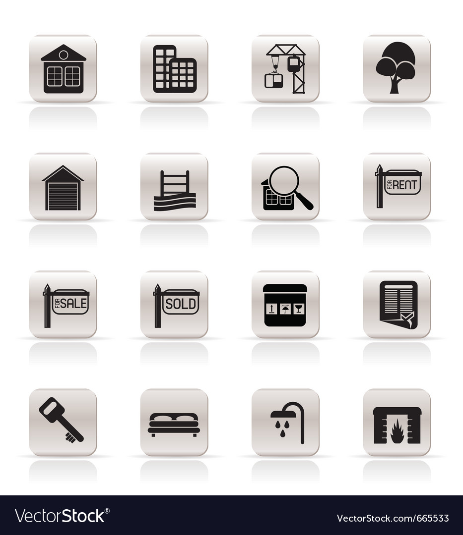 Simple real estate icons vector | Price: 1 Credit (USD $1)