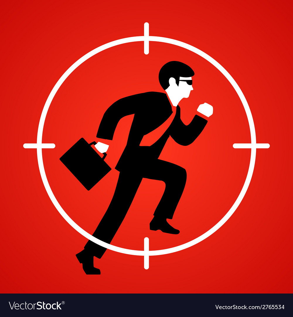 A businessman runs at gunpoint vector | Price: 1 Credit (USD $1)