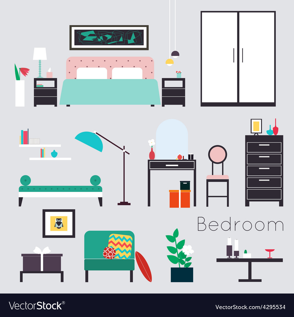 Bedroom furniture and accessories vector | Price: 1 Credit (USD $1)