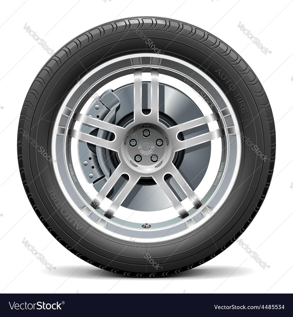 Car wheel with disk brake vector | Price: 5 Credit (USD $5)