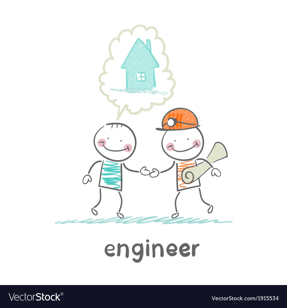 Engineer speaks with the customer about the house vector | Price: 1 Credit (USD $1)