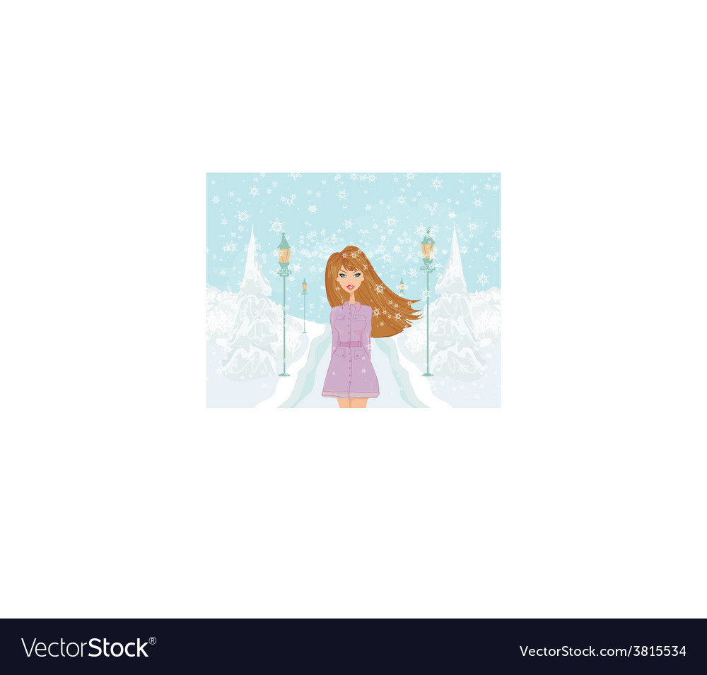 Fashion girl on winter landscape vector | Price: 1 Credit (USD $1)