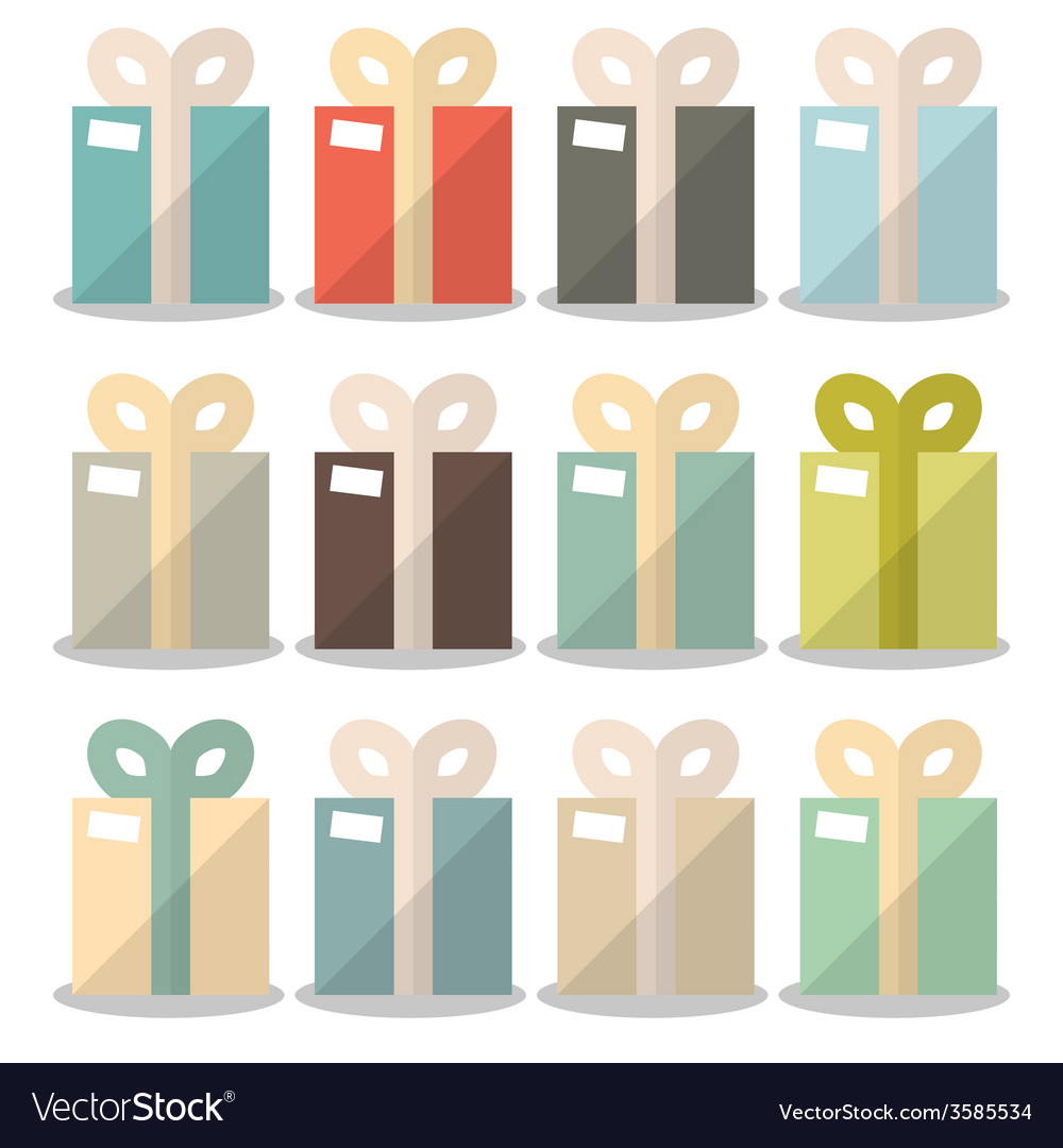 Flat design gift boxes set vector | Price: 1 Credit (USD $1)
