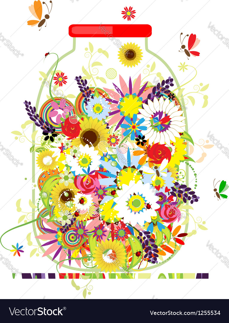 Floral honey jar with summer flowers for your vector   Price: 1 Credit (USD $1)