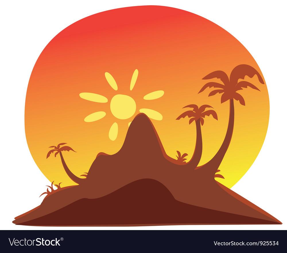 Island sunset vector | Price: 1 Credit (USD $1)