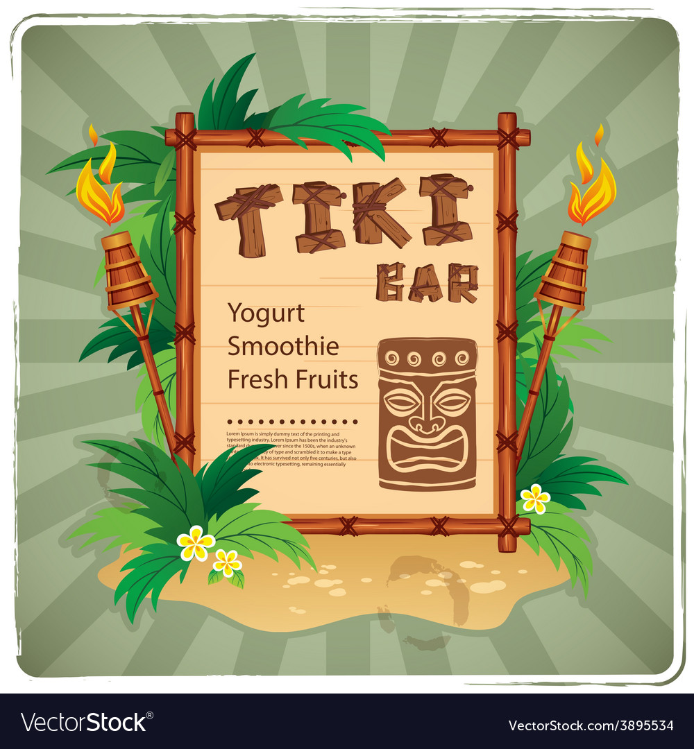Retro tiki bar sign vector | Price: 1 Credit (USD $1)