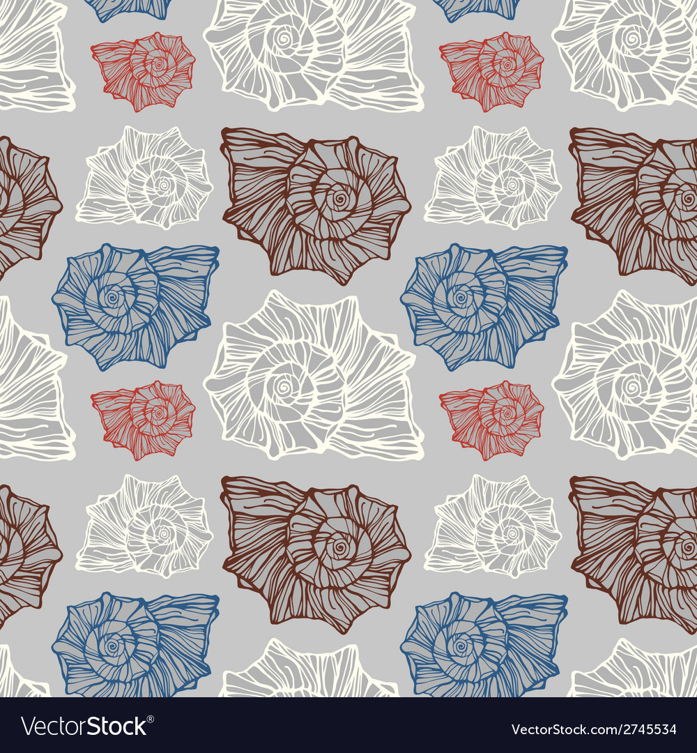 Seamless pattern with decorative seashells vector | Price: 1 Credit (USD $1)