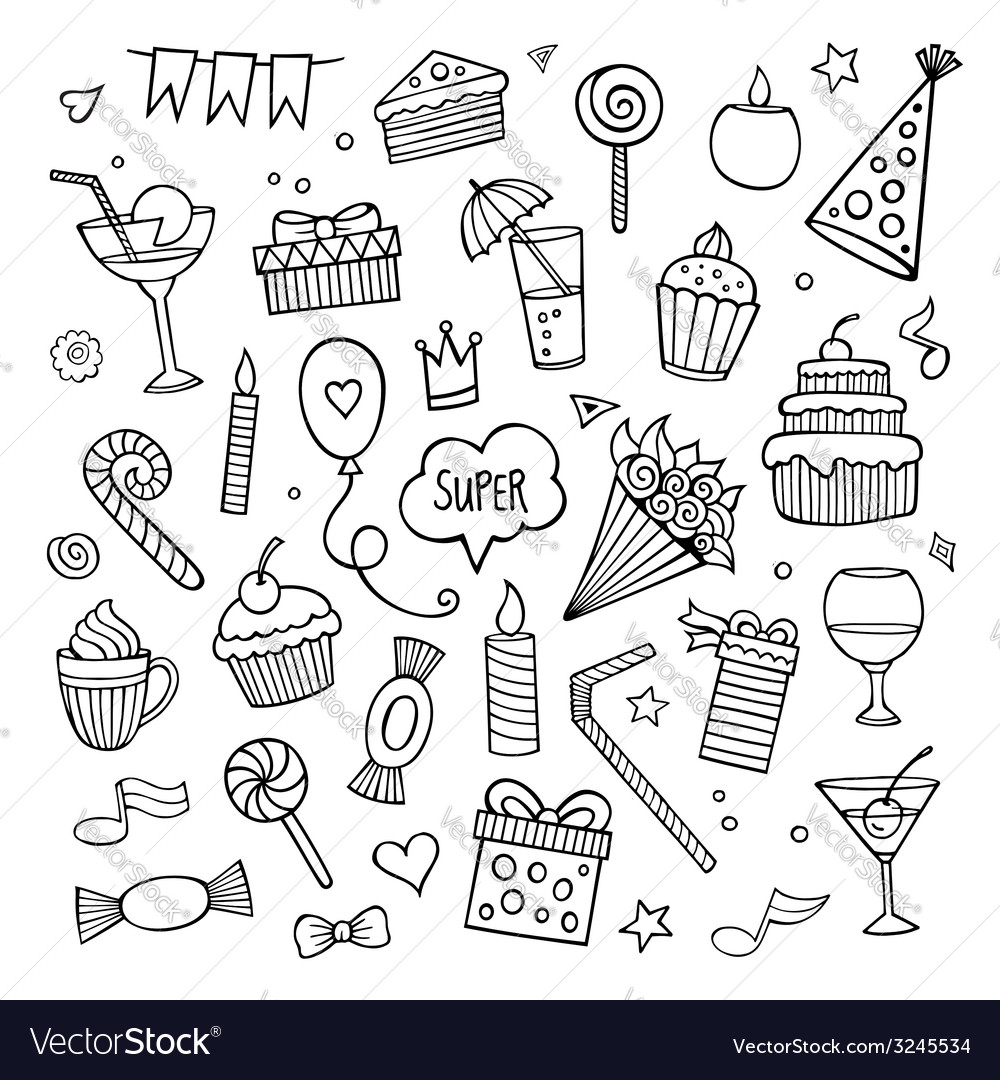 Set of different hand drawn holiday elements vector | Price: 1 Credit (USD $1)