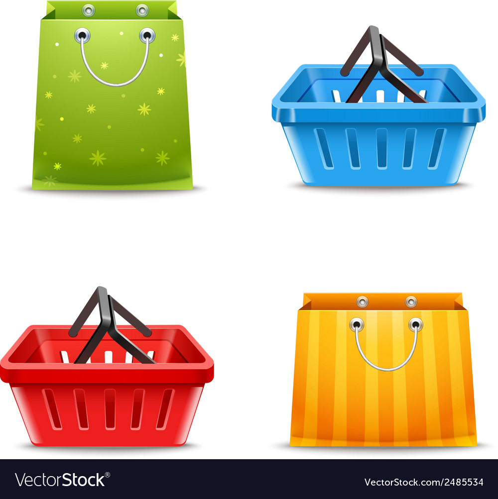 Shopping baskets and bags vector | Price: 1 Credit (USD $1)