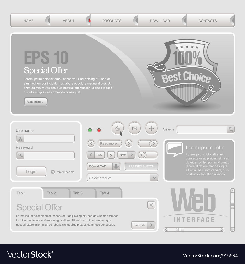 Web ui elements vector | Price: 3 Credit (USD $3)