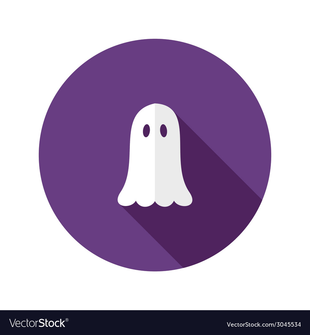 White ghost flat icon over purple vector | Price: 1 Credit (USD $1)
