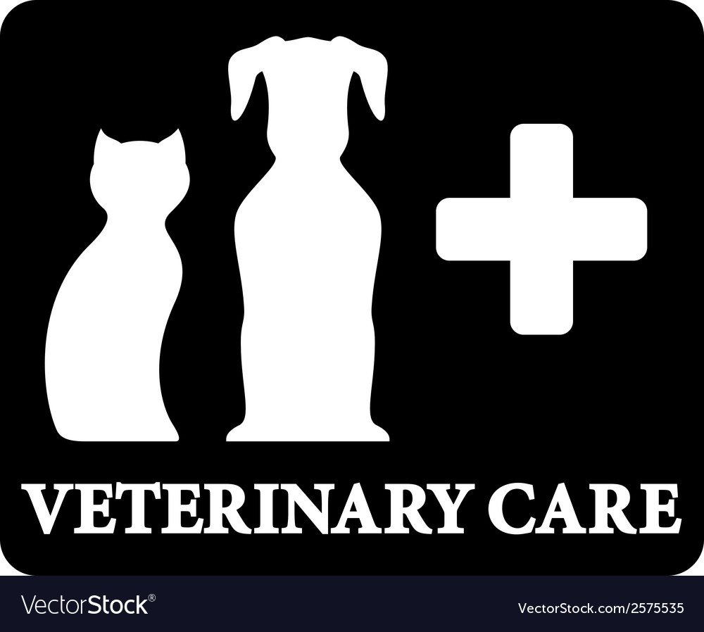 Black veterinary care icon with pets and cross vector | Price: 1 Credit (USD $1)