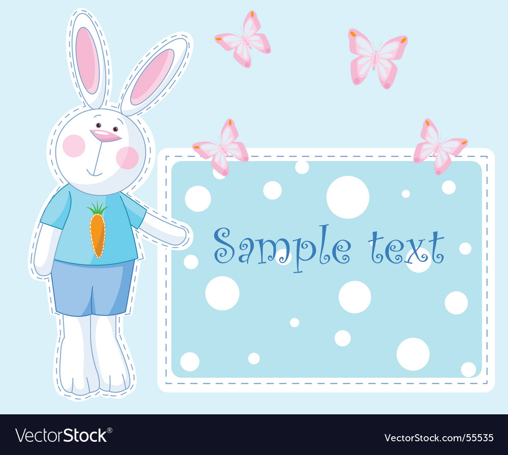 Bunny card vector | Price: 1 Credit (USD $1)