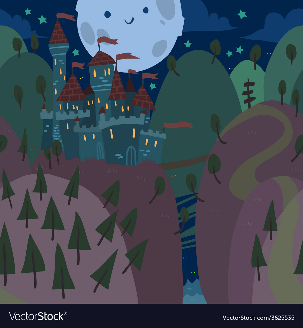 Cartoon flat castle on a hill at night vector | Price: 1 Credit (USD $1)