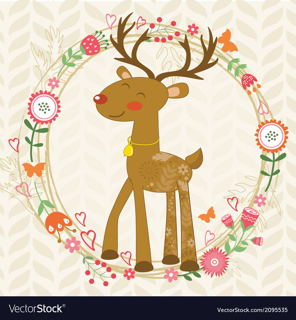 Cute dear in floral wreath vector   Price: 1 Credit (USD $1)