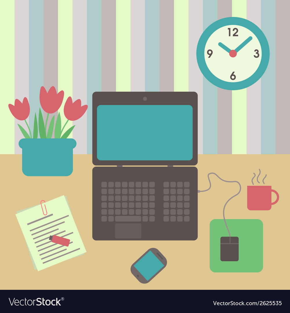 Desk flat design vector | Price: 1 Credit (USD $1)