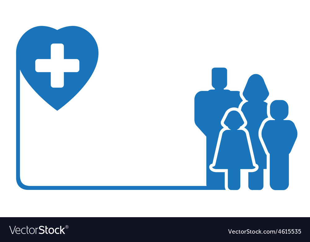 Family silhouette on medical symbol vector   Price: 1 Credit (USD $1)