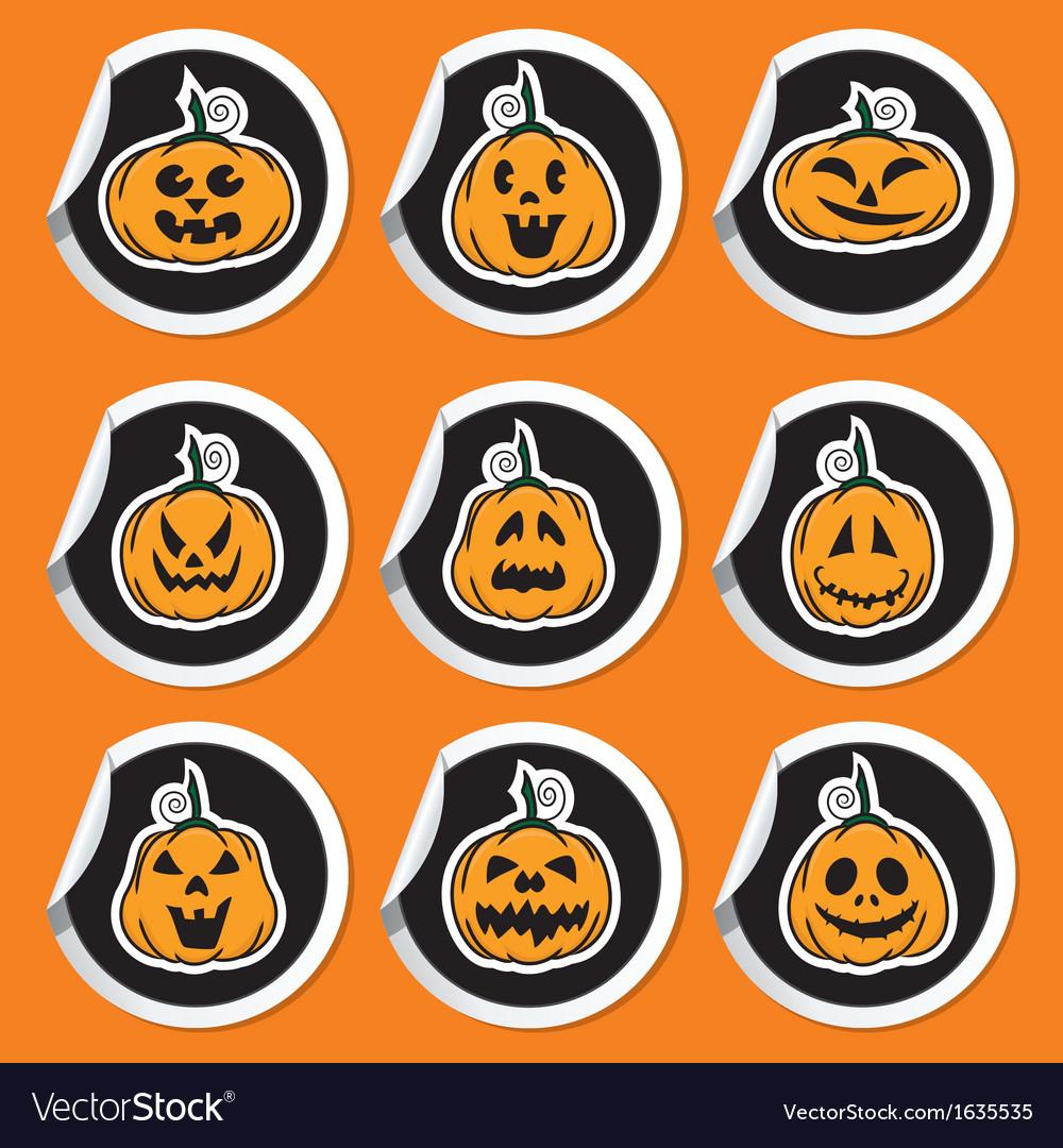 Halloween pumpkin stickers vector | Price: 1 Credit (USD $1)