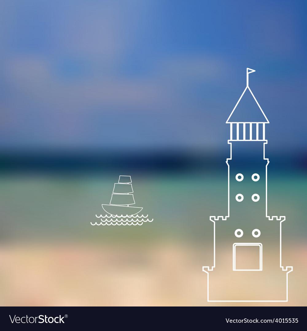 Lighthouse sailboat island ocean on seascape vector | Price: 1 Credit (USD $1)