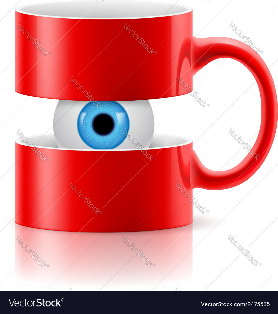 Red mug of two parts with an eye inside vector | Price: 1 Credit (USD $1)